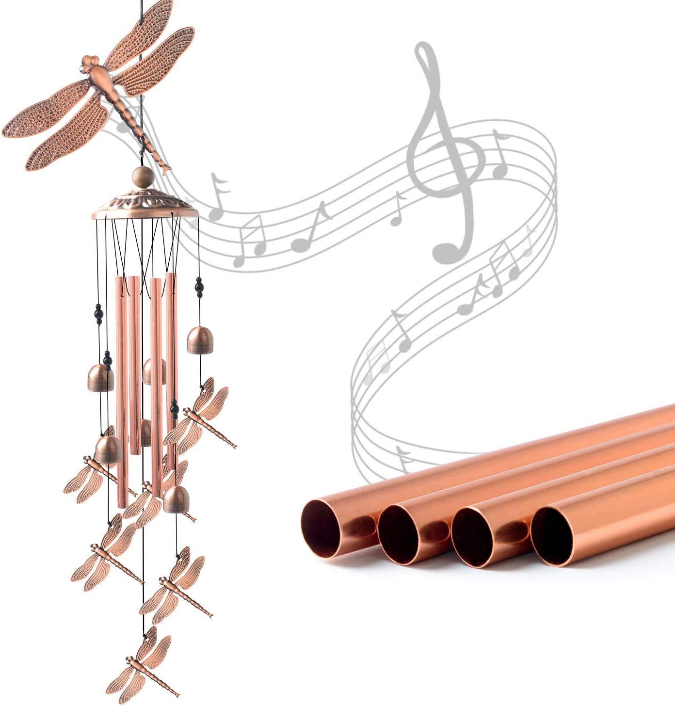 JOBOSI Dragonfly Wind Chimes, Wind Chimes Outdoor, Garden Decor, Garden Gifts, Gifts for mom,Memorial Wind Chimes Copper Wind Chimes Indoor/Outdoor Waterproof