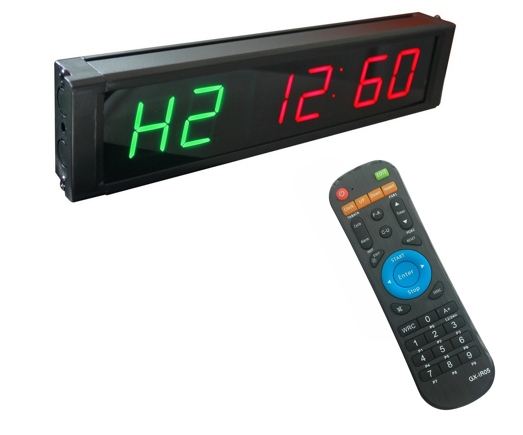 GANXIN 1'' High 6 Digits LED Interval Timer, with Countdown /up Clock, 12/24-H Real Time Clock, Stopwatch by Remote Control, for TABATA /FGB, GYM BOXING, EMOM, MMA.