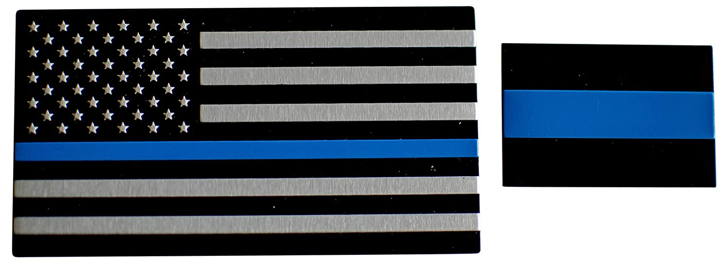 Aluminum Thin Blue Line License Sticker Blue Lives Matter Decal In Support of Police Officers and Law Enforcement 1 Pack