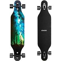 ENKEEO 40 inch Longboard - Skateboard Komplettboard Drop-Through Cruiser Board mit ABEC 11 High-Speed Kugellager, Kapazität: 100kg