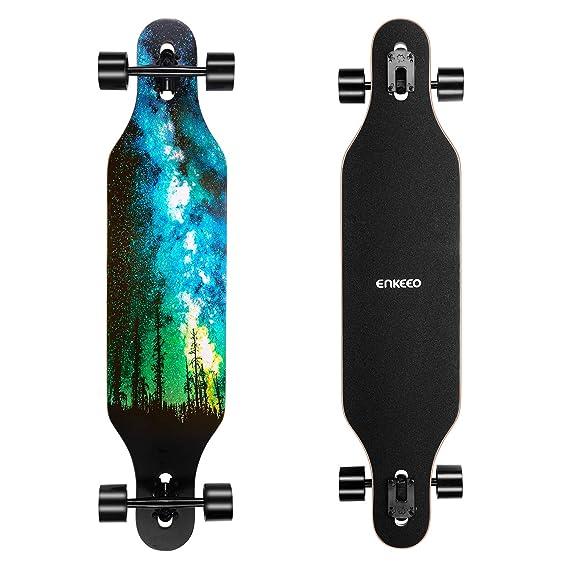 ENKEEO 23x103.5cm Longboard, Monopatín con Rodamiento de ABEC-11 y 9 Capas Flexible de Arce, Tabla Completa