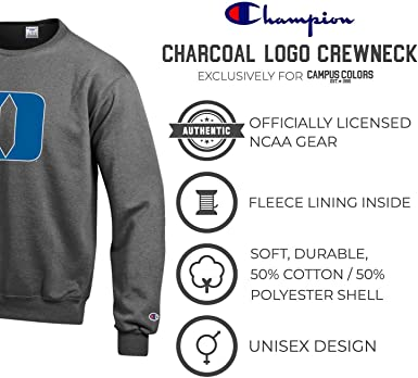 Champion Unisex-Adult NCAA Mens Long Sleeve Eco Powerblend Sweatshirt Unisex Officially Licensed Crewneck Fleece