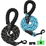 2 Pack Dog Leash (5 FT*0.5inch)+ a Garbage Bag and a Poop Bag Holder, Heavy Duty Rope Dog Leash with Comfortable Padded Handl