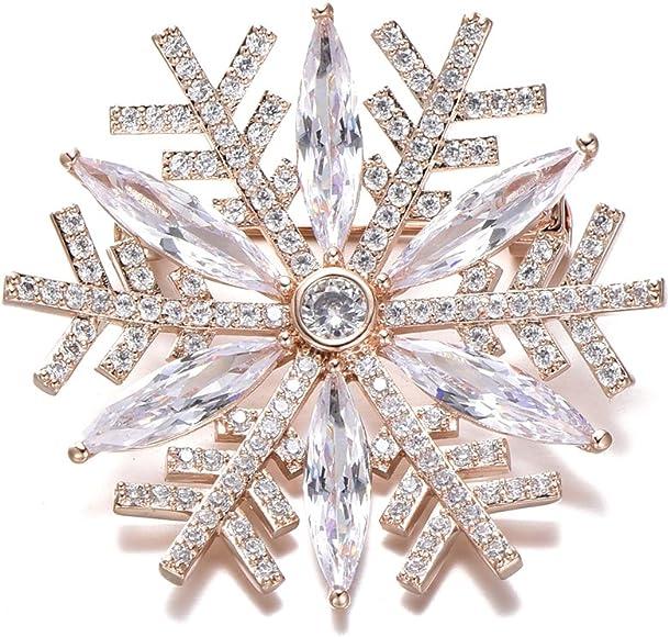 c1b83f7d2e Amazon.com: Snowflake Brooch Pins for Women, Dazzling Rhinestone ...