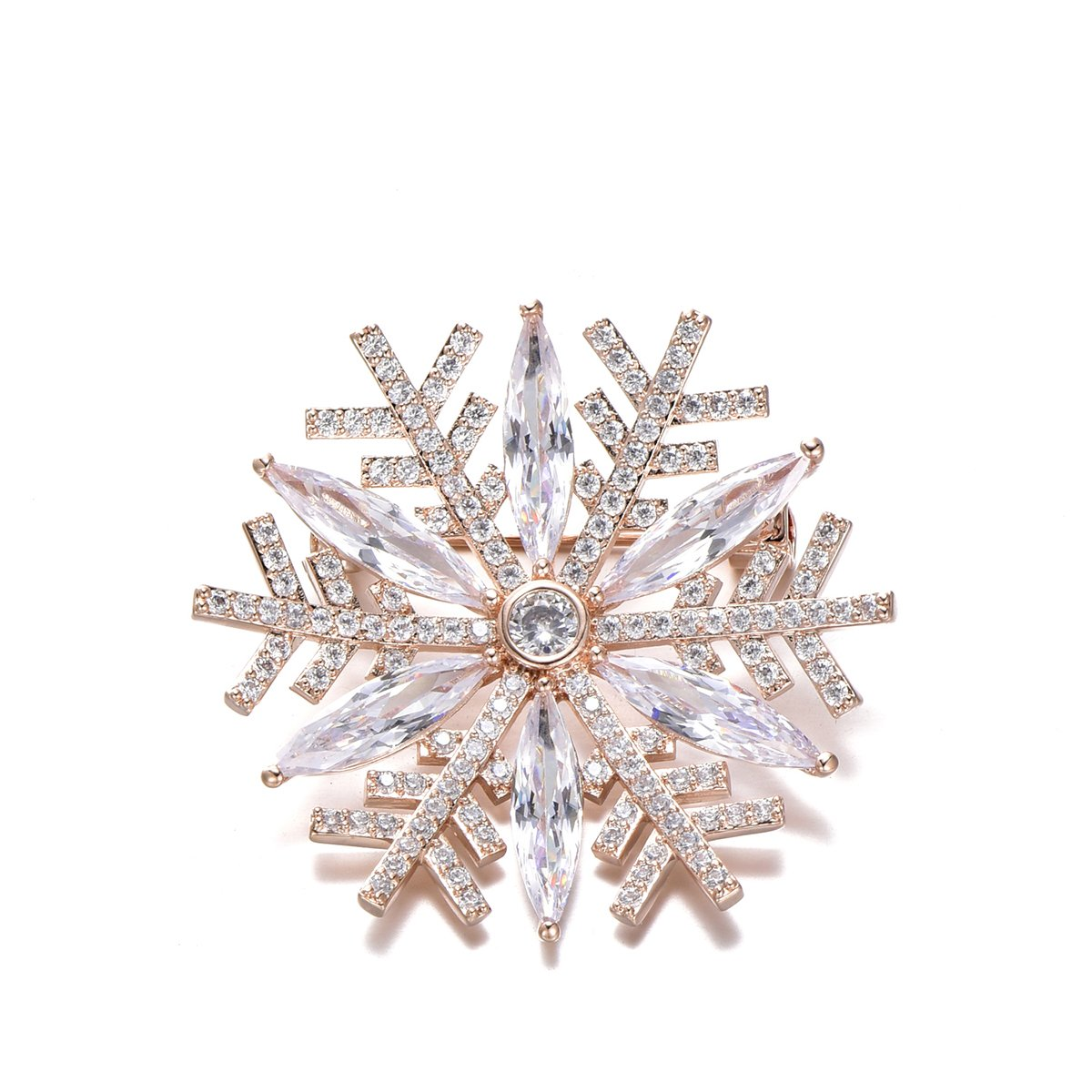 Snowflake Brooch Pins for Women,Dazzling Rhinestone Brooch for Brides Copper Vintage Crystal Brooch Girls CZ Brooch for Wedding,Party (Rose Gold Snowflake)