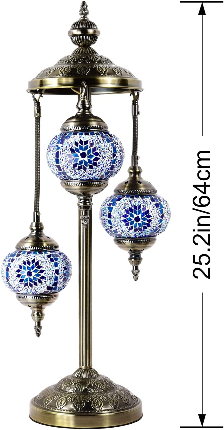 Marrakech Turkish Floor Lamp Handmade 3 Globes Mosaic Glass Table Lamp Moroccan Tiffany Style Lamp Decorative Night Light for Living Room Bedroom Blue