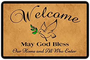 "Muikoo Front Door Mat Welcome Mat Welcome May God Bless Our Home and All Who Enter Rubber Non Slip Backing Funny Doormat Indoor Outdoor Rug 23.6""(W) X 15.7""(L)"