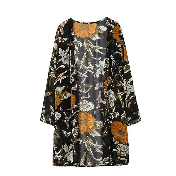 WINWINTOM Blusas y Camisas de Mujer, Verano Casual Camisetas y Tops, Mujer Floral Impresión