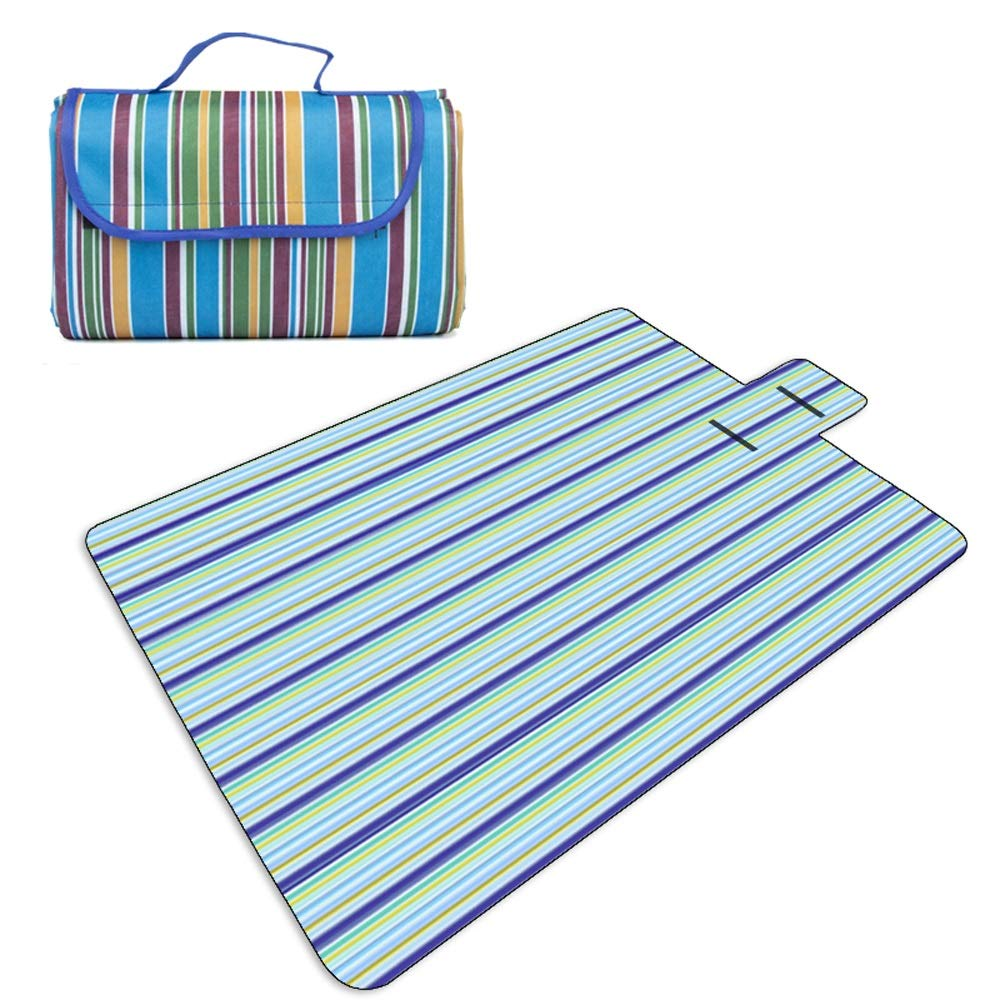TSDS Outdoor Picnic Mat Portable Pink Striped Beach Mat Folding Camping Moisture Proof Pad (Color : B)