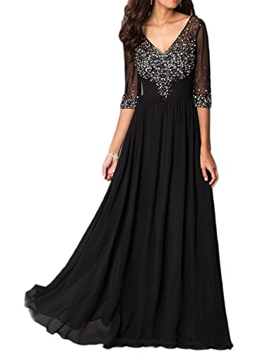 OYISHA Womens 1/2 Sleeve Beaded Chiffon Evening Dress Formal Wedding Gowns EV134