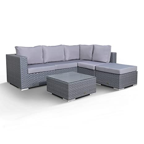 Club Rattan Blossom Grey Corner Chaise With Footstool And