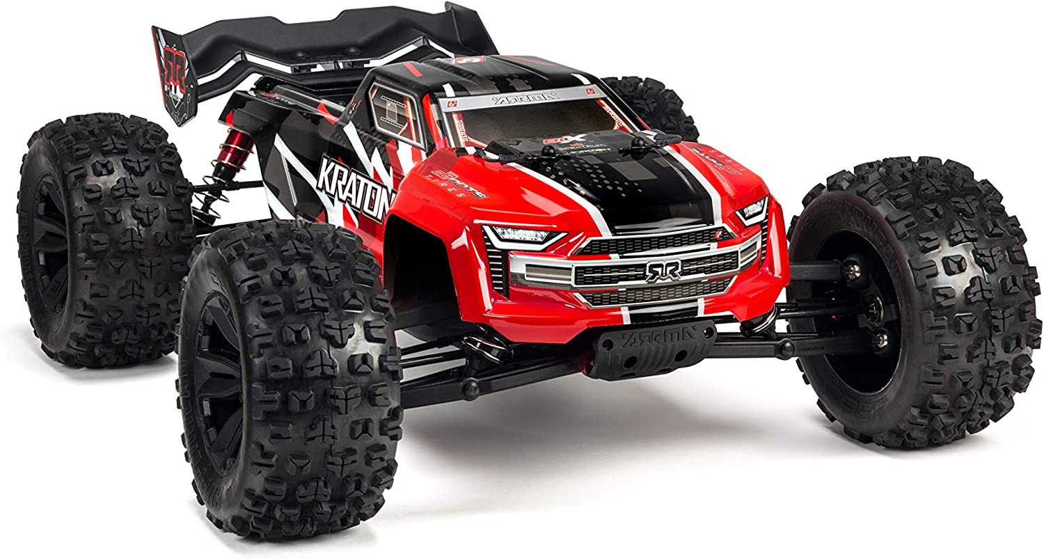 Amazon Com Arrma Kraton 1 8 Scale Blx Brushless 4wd Rc Speed Monster Truck Rtr 6s Lipo Battery Required With 2 4ghz Stx2 Radio Ara106040t1 Red Toys Games