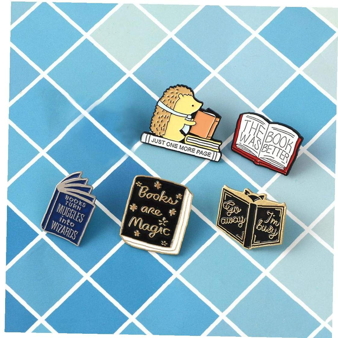5Pcs Enamel Pin Hedgehog Book Pin Cartoon Series Badge Literature Lovers Gift