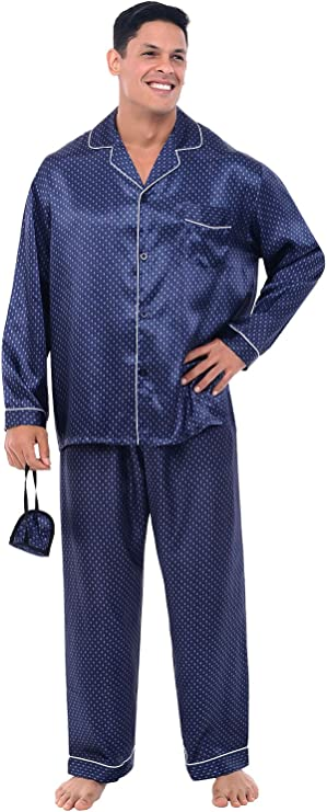 Model has worn blue white-dotted pajama pants