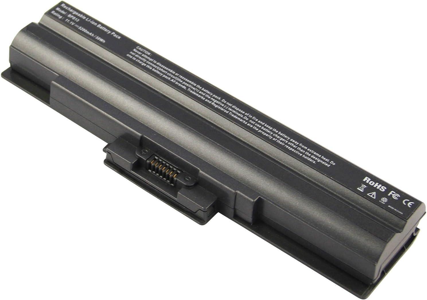 Laptop Battery for Sony Vaio VGP-BPS13 VGP-BPS13A VGP-BPS13A/B VGP-BPS13B/S VGP-BPL13 PCG-81214L PCG-81114L - 12 Months Warranty [Black 6 Cells 11.1V 5200mAh]