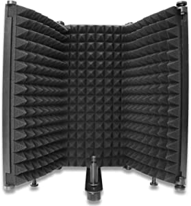 Mic Isolation Shield - Portable Studio Acoustic Sound Shield with Absorbing Foam for Microphone, Mic Reflection Filter for Home Voice Studio to Filter Vocal(3 Panels) YOUSHARES
