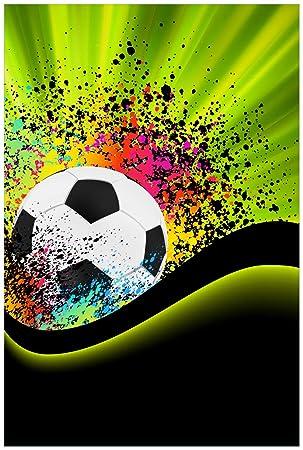 Wallario Poster Fussball Design Wellen Und Regenbogen In