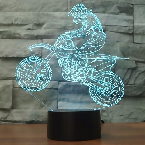 3D óptico Illusions LED Lámparas, Moto, LSMY Lámpara de mesa de mesa táctil Decoración hogareña 7 colores Efectos luminosos únicos para Regalo de la ...