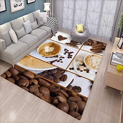 Amazon.com: Kitchen Anti-Static Area Rugs Coffee Themed ...