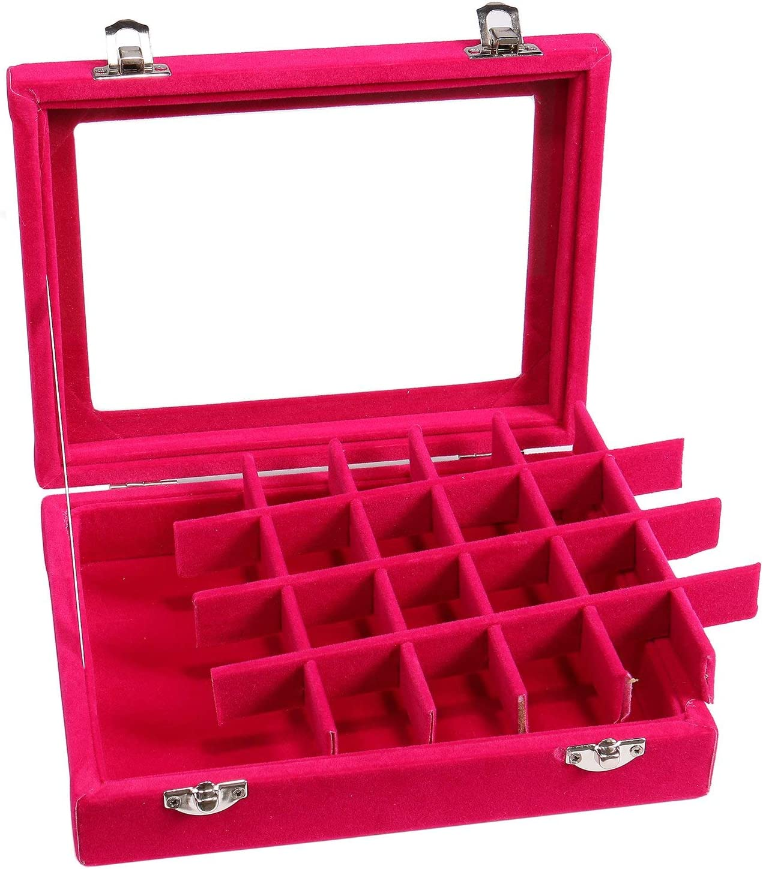 Rose Rouge Lavcus Bo/îte /à Bijoux avec 24 Compartiments Coffret /à Bijoux pour Femme Bo/îtier de Rangement pour Bijoux