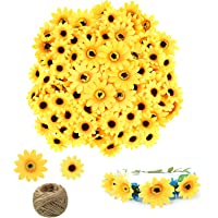 120 Pieces Artificial Silk Yellow Sunflower Heads, 60 Pieces 2.4 Inch Fake Silk Sunflowers, 60 Pieces 1.8 Inch Fabric…