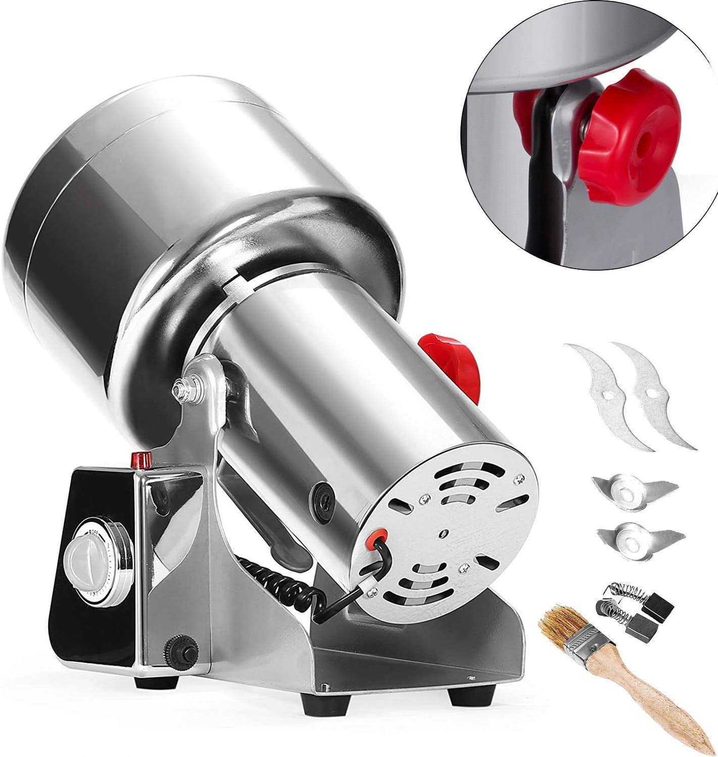 Happybuy Electric Grain Grinder 750g Pulverizer Grinding Machine 2500W Mill Grinder Powder Machine 50-300 Mesh Stainless Steel Swing Type Grain Grinder Mill for Kitchen Herb Spice Pepper Coffee