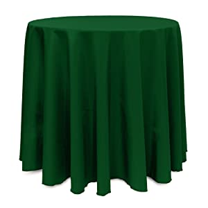 Single Piece Hunter Tablecloth, Machine Washable Wrinke-Free And Stain-Resistant, Solid Pattern, Classic Casual Style, Round Rectangle Shape, 100 Percent Polyester Material, Forest Green, Lime Green