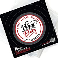 """(75 Pack) Vinyl Fever High-Density 3 Mil Outer Record Sleeves for Storage of Standard 12"""" LP Records and Albums"""