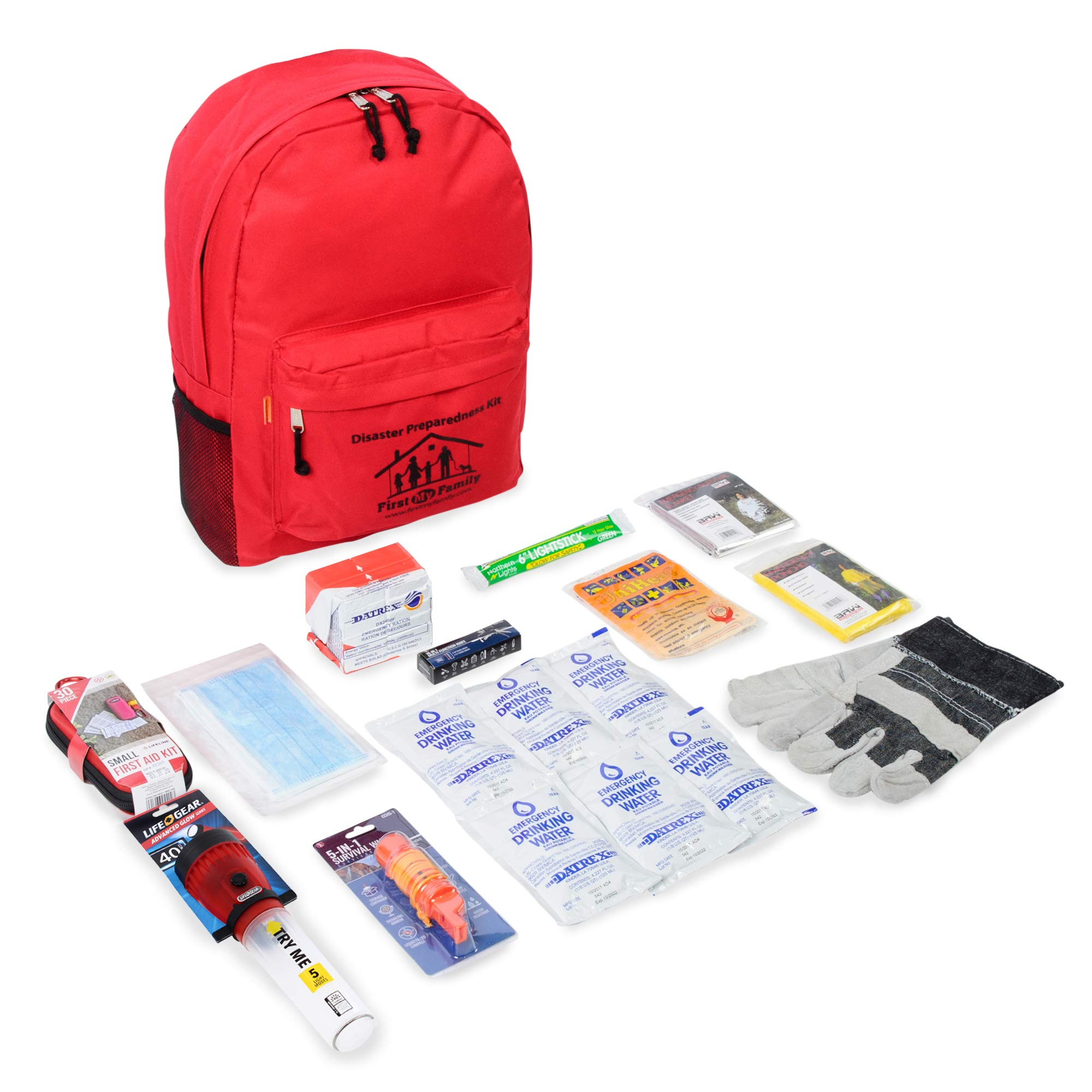 First My Family 1PKIT All-in-One Single Person Premium Disaster Preparedness Survival Kit with 72 Hours of Survival and First-Aid Supplies by FIRST MY FAMILY A DISASTER PREPAREDNESSCOMPANY