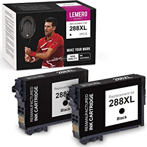 LemeroUexpect Remanufactured Ink Cartridge Replacement for Epson 288XL 288 XL T288XL High Capacity for Expression Home XP-440 XP-446 XP-340 XP-430 XP-330 XP-434 Printer (Black, 2-Pack)