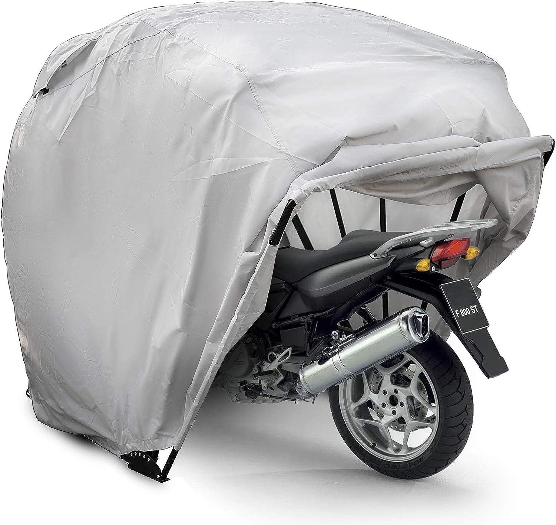 succebuy B/âche Moto 100/% Imperm/éable Housse de Protection Argent Pliant Moto Couverture Grand Housse de Moto sans Serrure B/âche Moto Etanche /à la Poussi/ère Housse de Pluie de Rouleau
