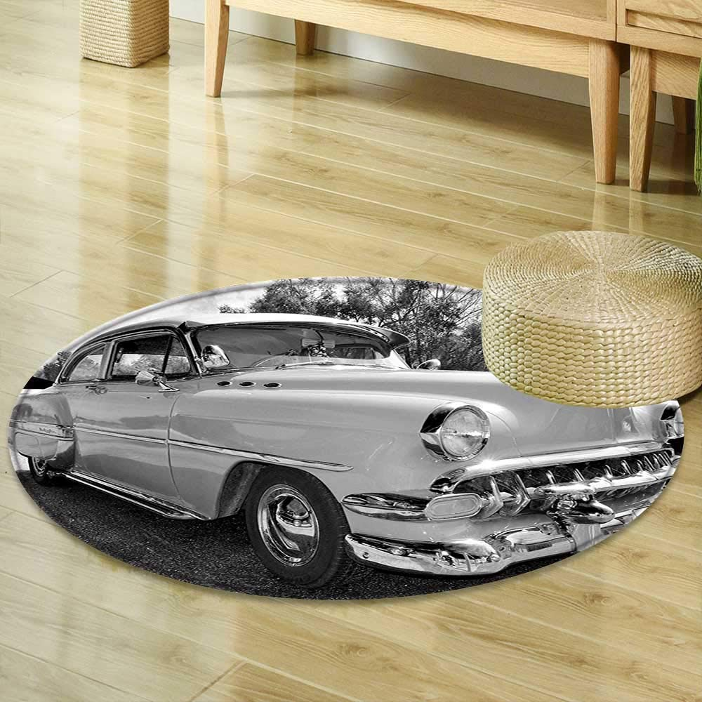 Round Area Rug Carpet Vintage 50s 60s Retro Classic Pin Up Style Cars in Hollywood Movies Image Artwork Black White and Gray Living Dinning Room and Bedroom Rugs R-24