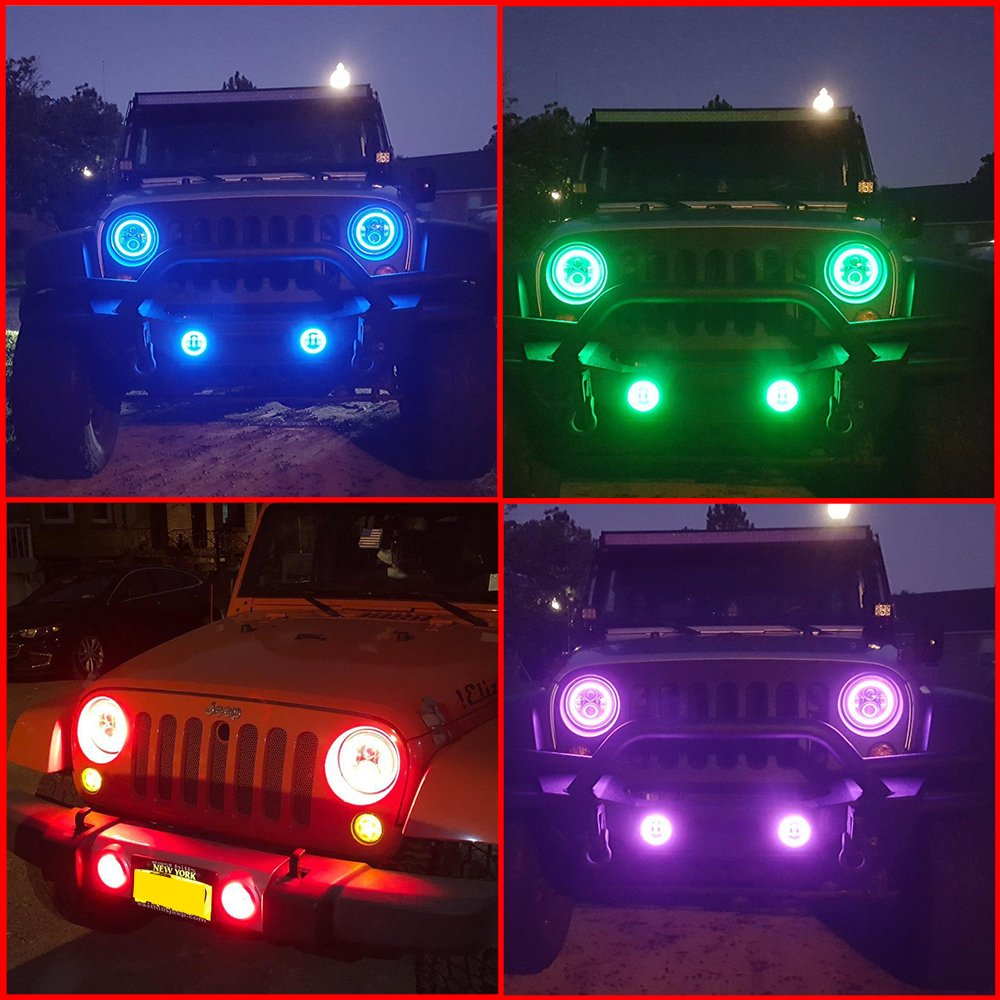 Rgb Led Headlight Angel Eye Fog Light For 07 17 Jeep Jk Cj Front Bumper Lamp