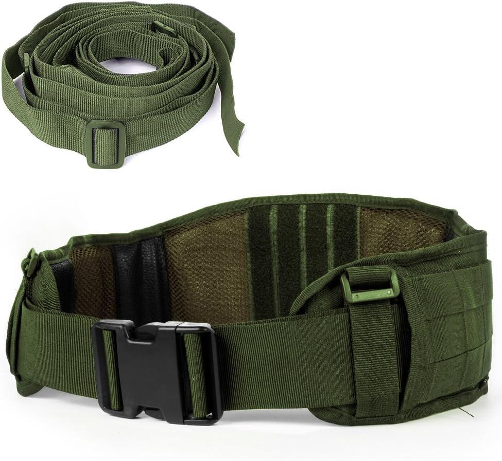 Cinturón táctico Mille Cinturón resistente de trabajo pesado ajustable con correa libre para actividades al aire libre (Army Green)