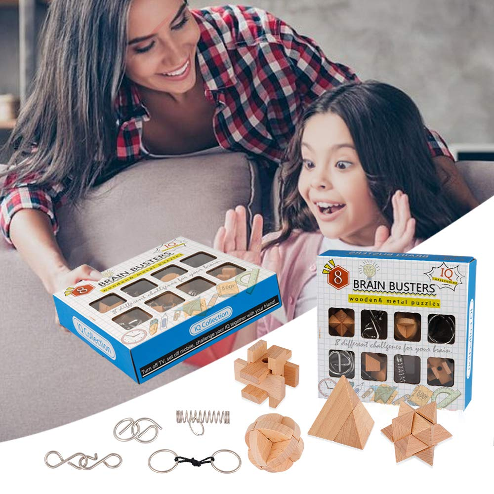 Coogam 8PCS Wooden Metal Puzzle Gift Box Brain Teasers IQ Test Disentanglement 3D Iron Link Interlock Jigsaw Game Magic Trick Toy for Party Favor Kids Adults Challenge