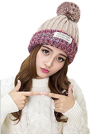 Bonnet Pompon Femme Hiver Mode Mignon Chapeau de Neige Ski