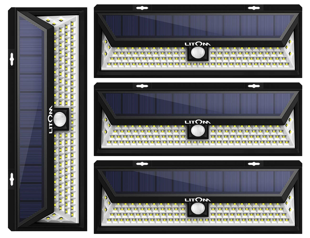 LITOM Enhanced 102 LED Super Bright Solar Lights Outdoor, Solar Motion Sensor Lights with 270°Wide Angle, IP65 Waterproof, Easy-to-Install Security Lights for Front Door, Yard, Garage, Deck(4 Pack)
