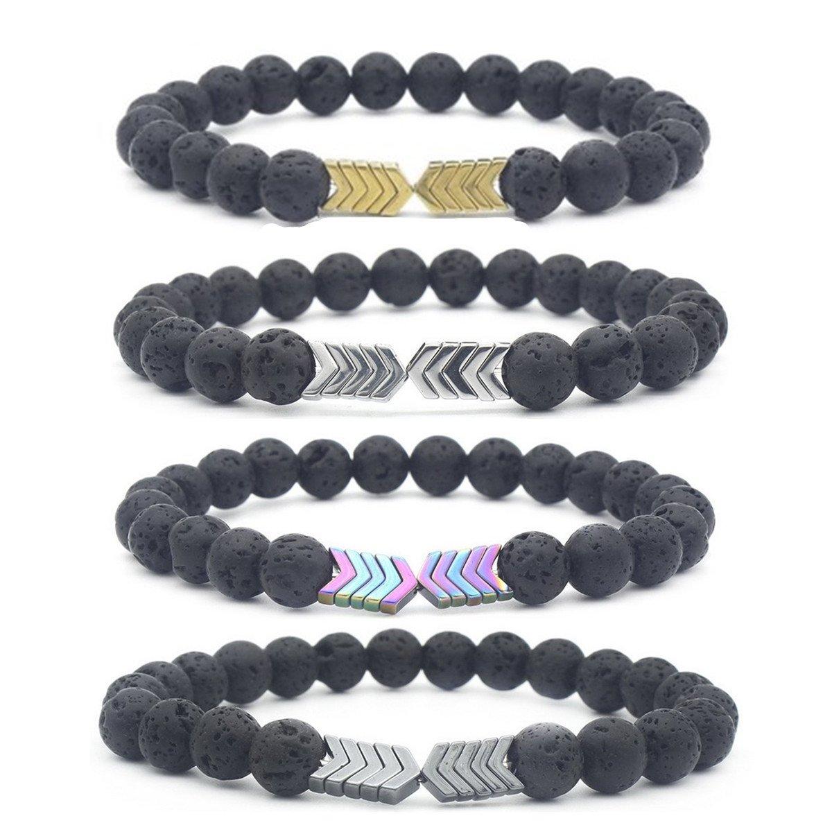8mm Lava Rock Bead Arrow Diffuser Stone Bracelet for Women Men (4 Color A)