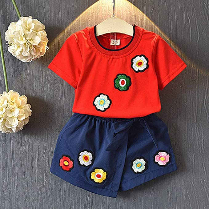 Womola Toddler Kids Baby Girl Floral Halter Lace Outfits Clothes Tops+Shorts 2pcs Set