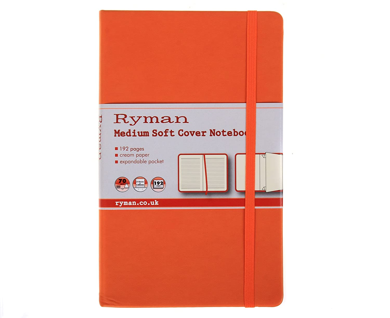 Ryman Carnet de couverture souple taille moyenne Ligné 192pages 96feuilles-Couleur: Orange