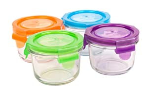 Wean Green Glass Baby Food Storage Containers, Wean Bowl 5.4 ounces, Garden Pack (4 pack)