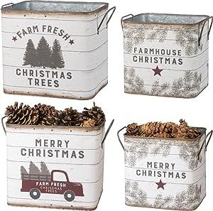 Primitives by Kathy 39896 Farmhouse Tin Buckets, Farm Fresh Christmas Trees