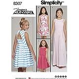 Simplicity 81/2–161/2Fille/Plus Robe avec guêpière Patron de couture, Blanc