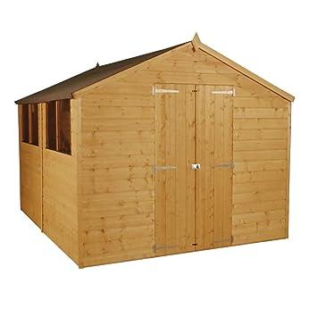Waltons - Cobertizo Tradesman de madera machihembrada, techo a dos aguas, 10 x 8 m, doble puerta, ventanas y fieltro incluidos: Amazon.es: Jardín