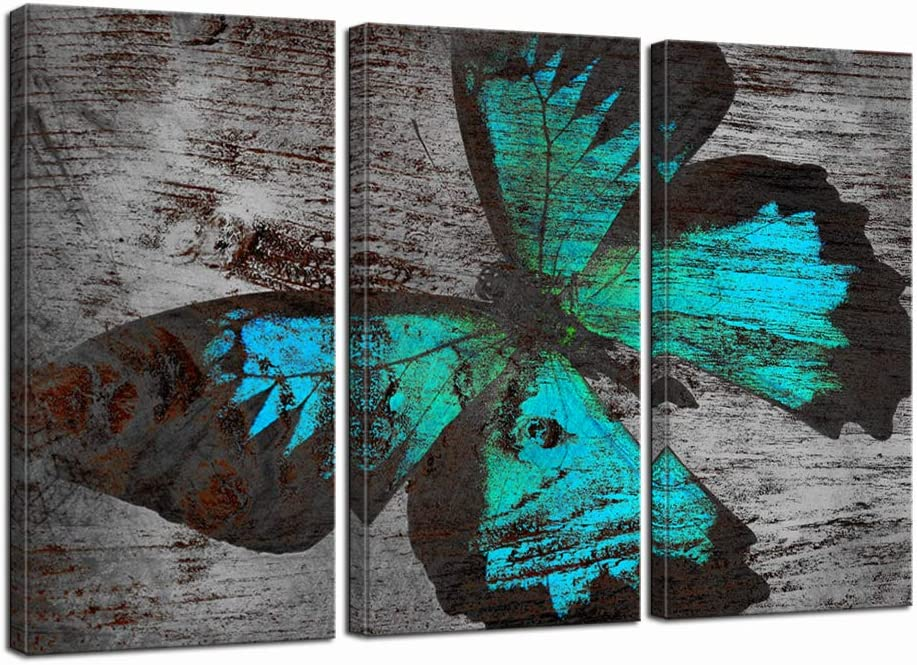 LevvArts Large 3 Piece Canvas Wall Art Teal and Grey Butterfly Pictures Painting Decor Animal Insect Canvas Artwork for Living Room Farmhouse Decoration Gallery Wrap Ready to Hang