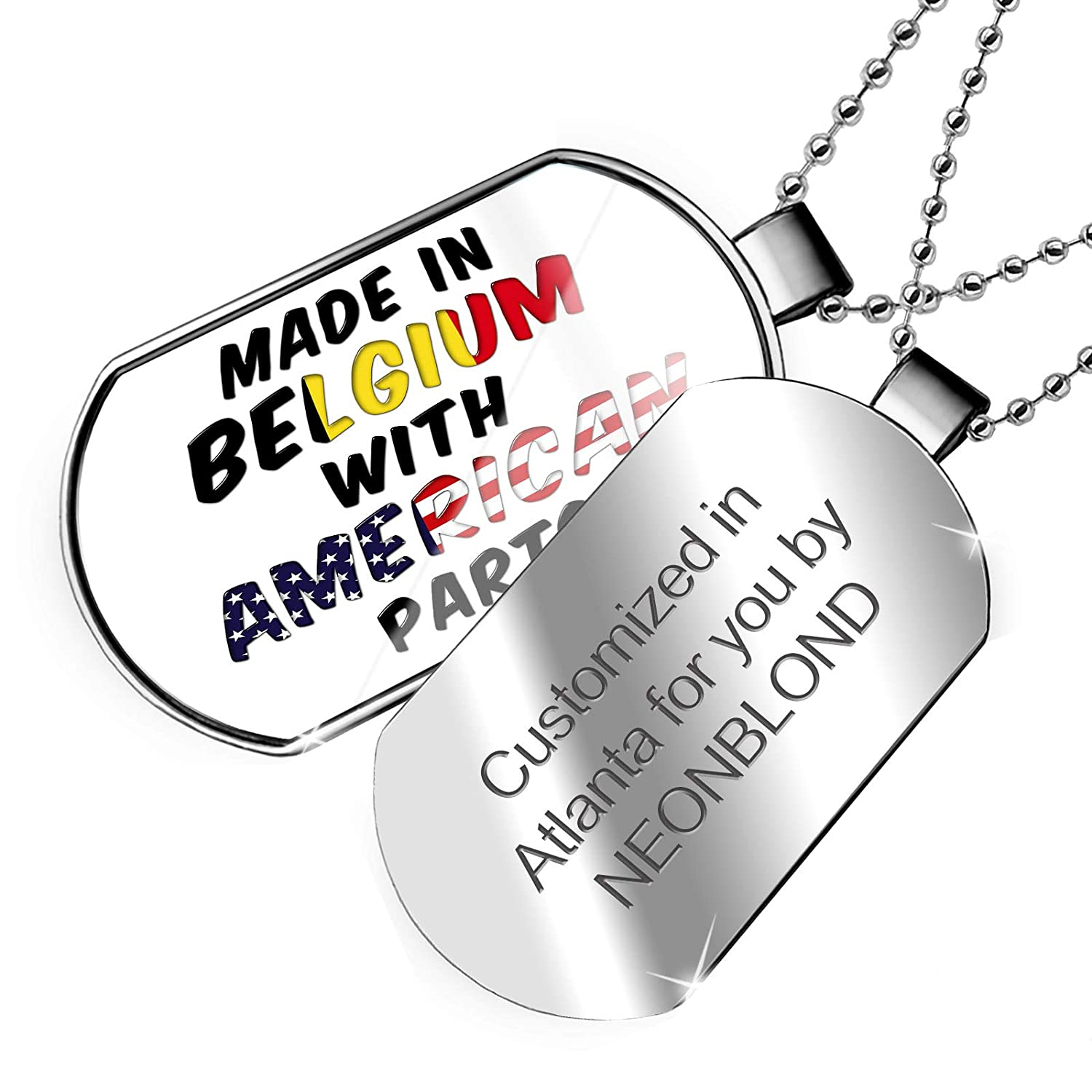 NEONBLOND Personalized Name Engraved American Parts but Made in Belgium Dogtag Necklace