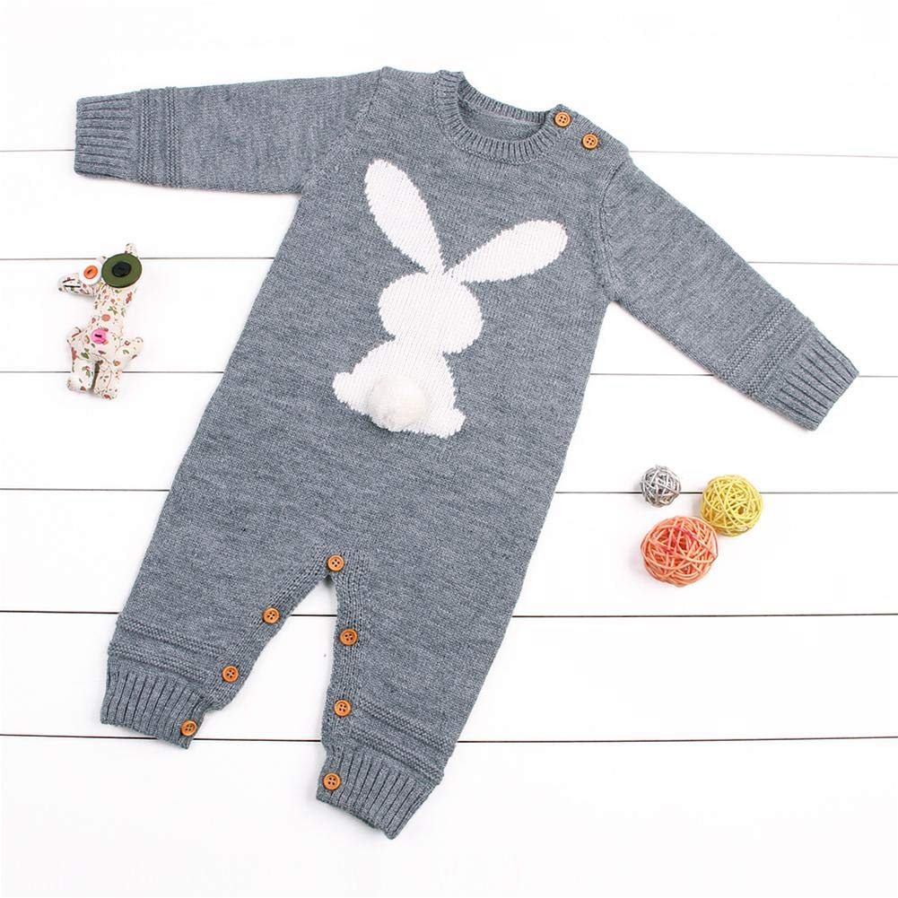 sundengyuey Baby Rompers Winter Cute Rabbit Long Sleeve Infant Knitted Toddler Jumpsuit