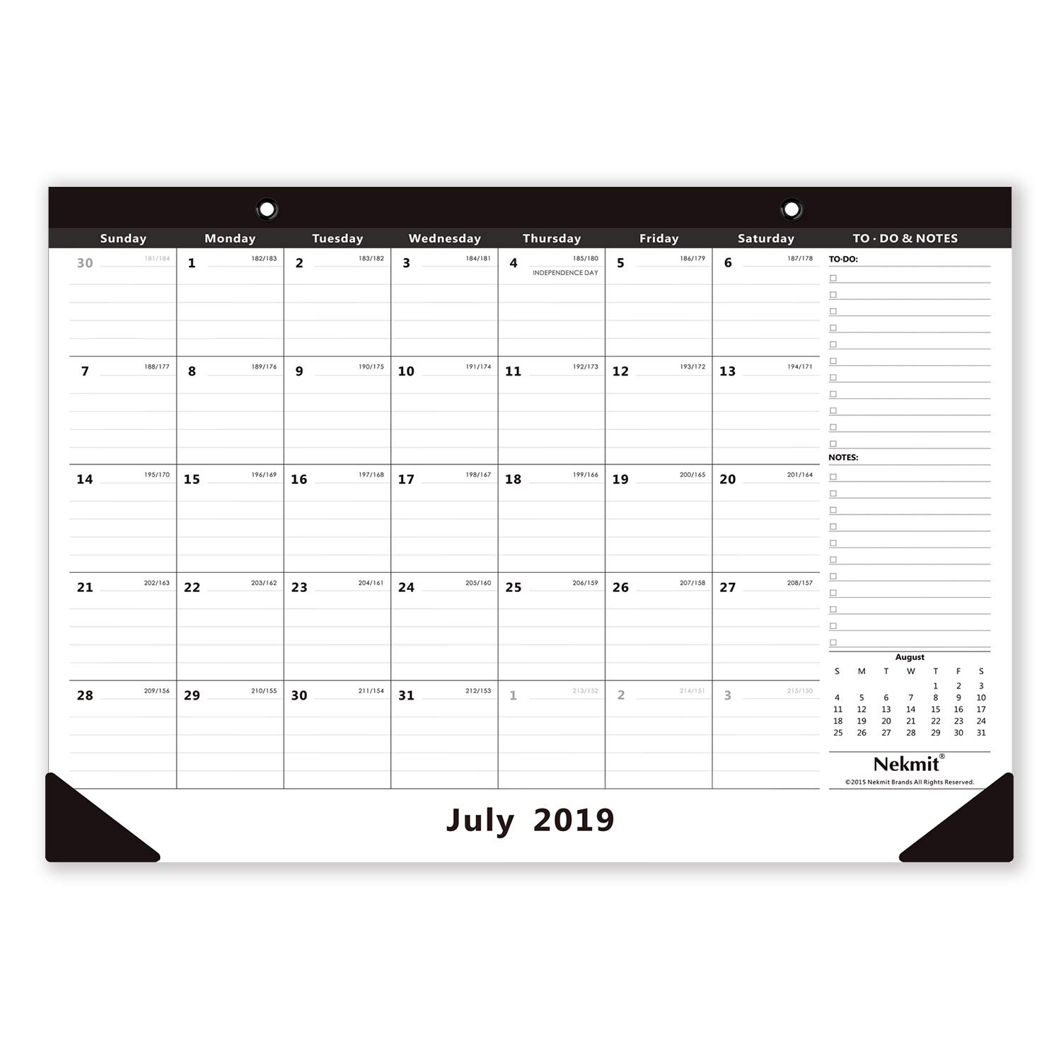 Nekmit 2019-2020 Monthly Desk Pad Calendar, September 2019 - December 2020, 16-3/4 x 11-4/5 Inches, Black