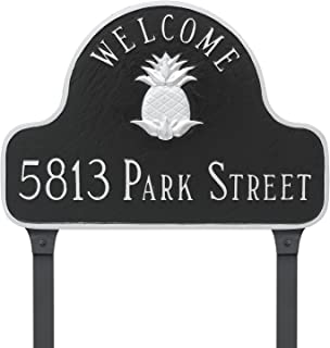"product image for Montague Metal Pineapple Welcome Arch Address Sign Plaque with Lawn Stakes, 11"" x 16"", Brick Red/Silver"