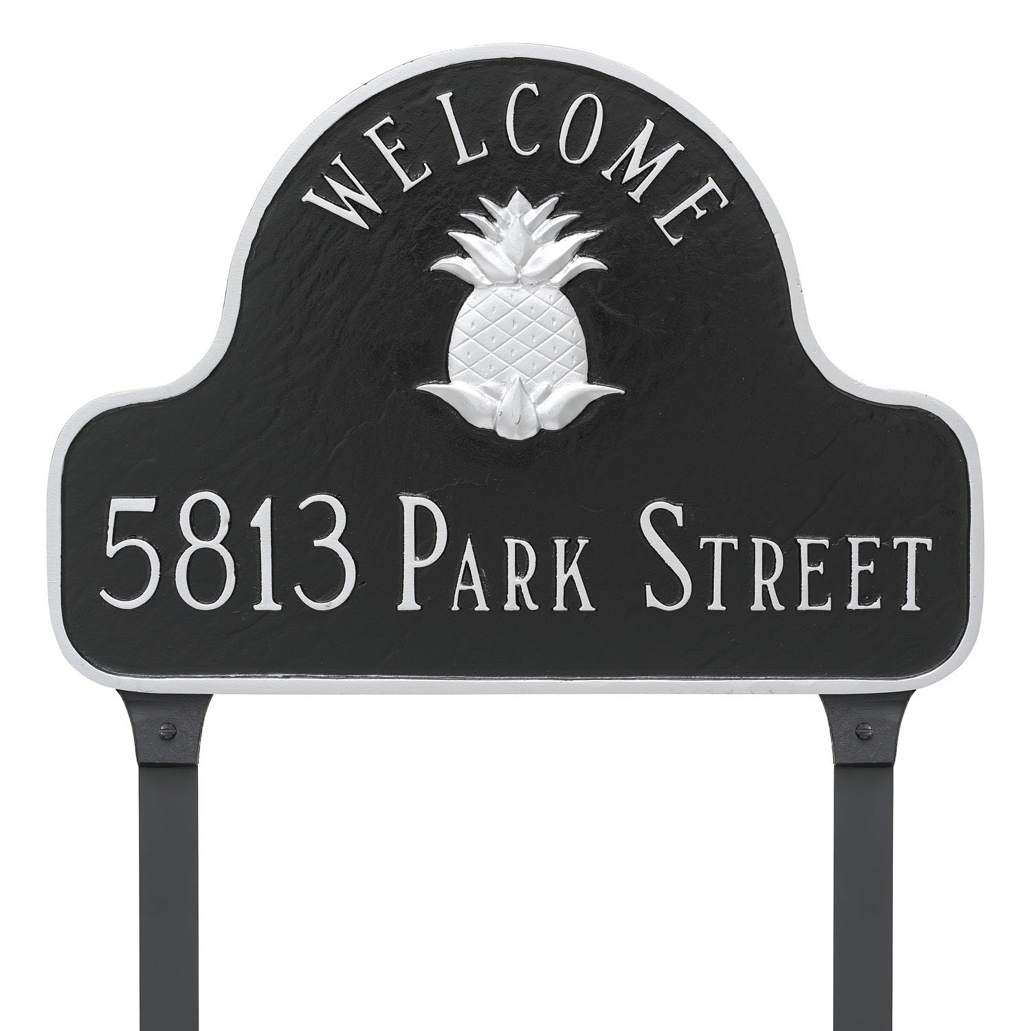 Montague Metal Pineapple Welcome Arch Address Sign Plaque with Lawn Stakes, 11'' x 16'', Black/Gold